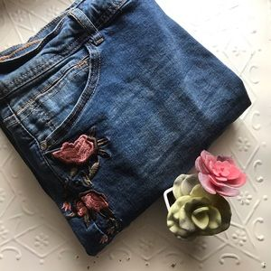 Embroidered floral jeans, olive green & mauve pink